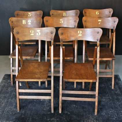 Chaises de théâtre pliantes en bois