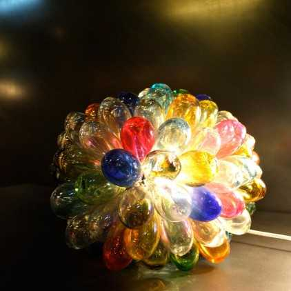 Lampe grappe en verre multicolore
