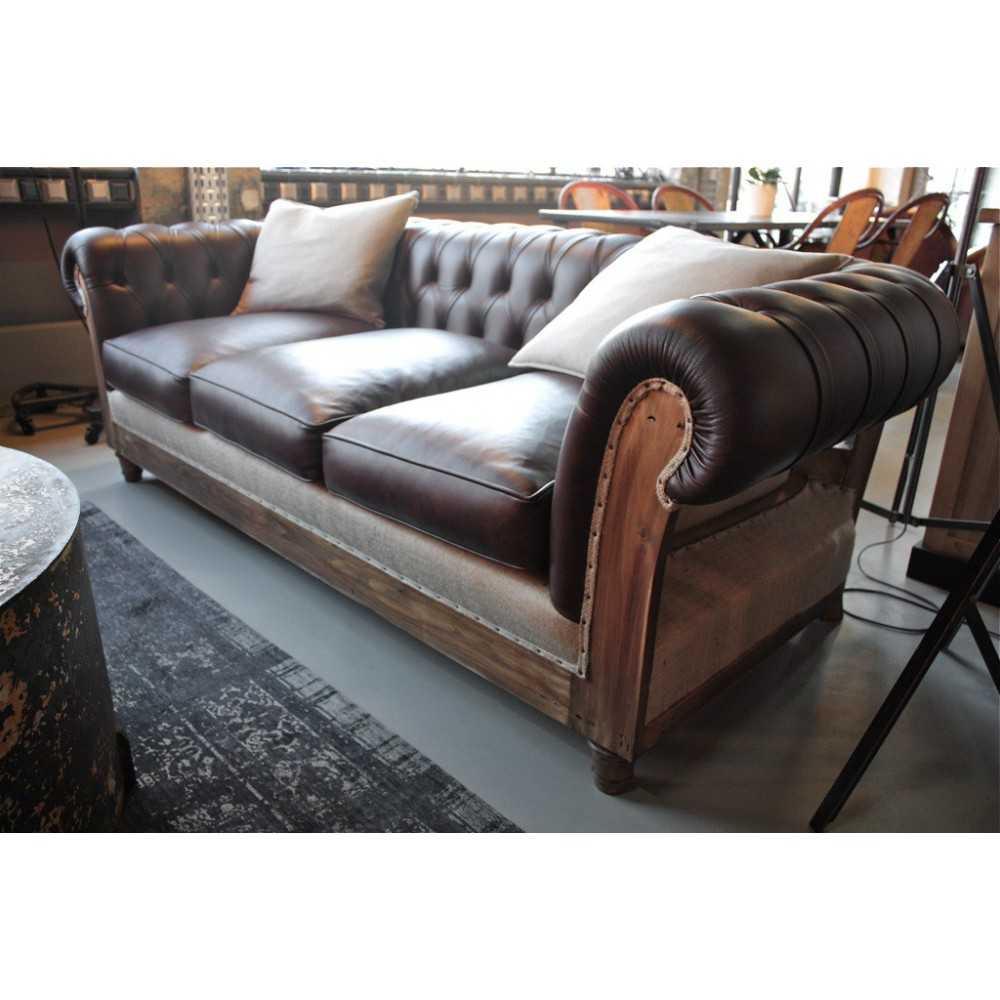 canap chesterfield d structur cuir marron les nouveaux brocanteurs. Black Bedroom Furniture Sets. Home Design Ideas