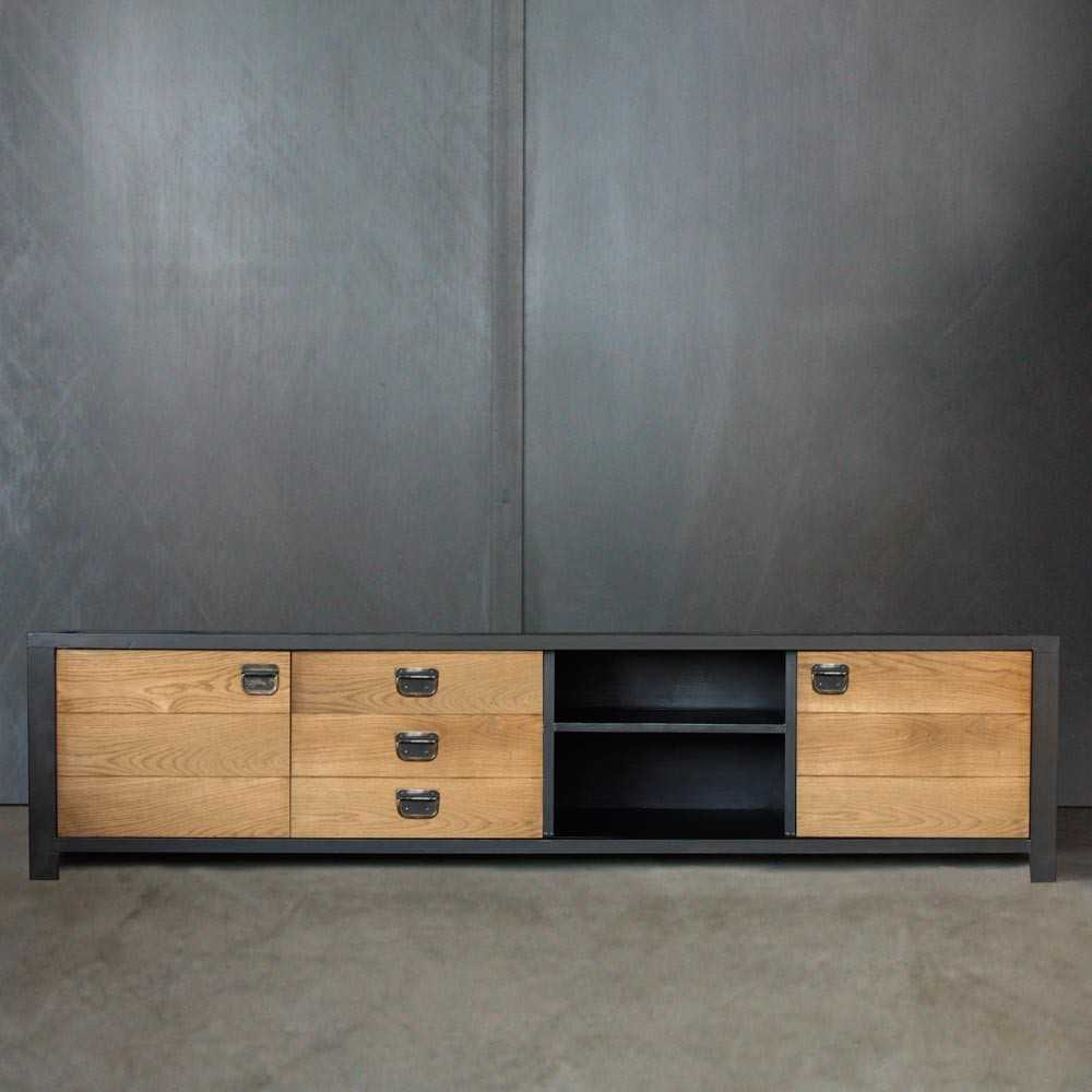 meuble tv mobilier industriel sur mesure les nouveaux brocanteurs. Black Bedroom Furniture Sets. Home Design Ideas