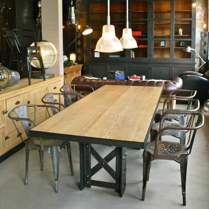 table manger industrielle les nouveaux brocanteurs. Black Bedroom Furniture Sets. Home Design Ideas
