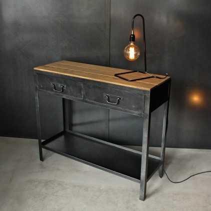 Console industrielle bois et métal