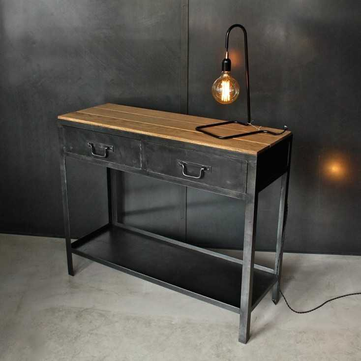 Console industrielle bois et métal l Les Nouveaux Brocanteurs # Console Industrielle Métal Et Bois Atelier
