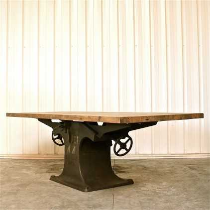 Table industrielle pied central en fonte
