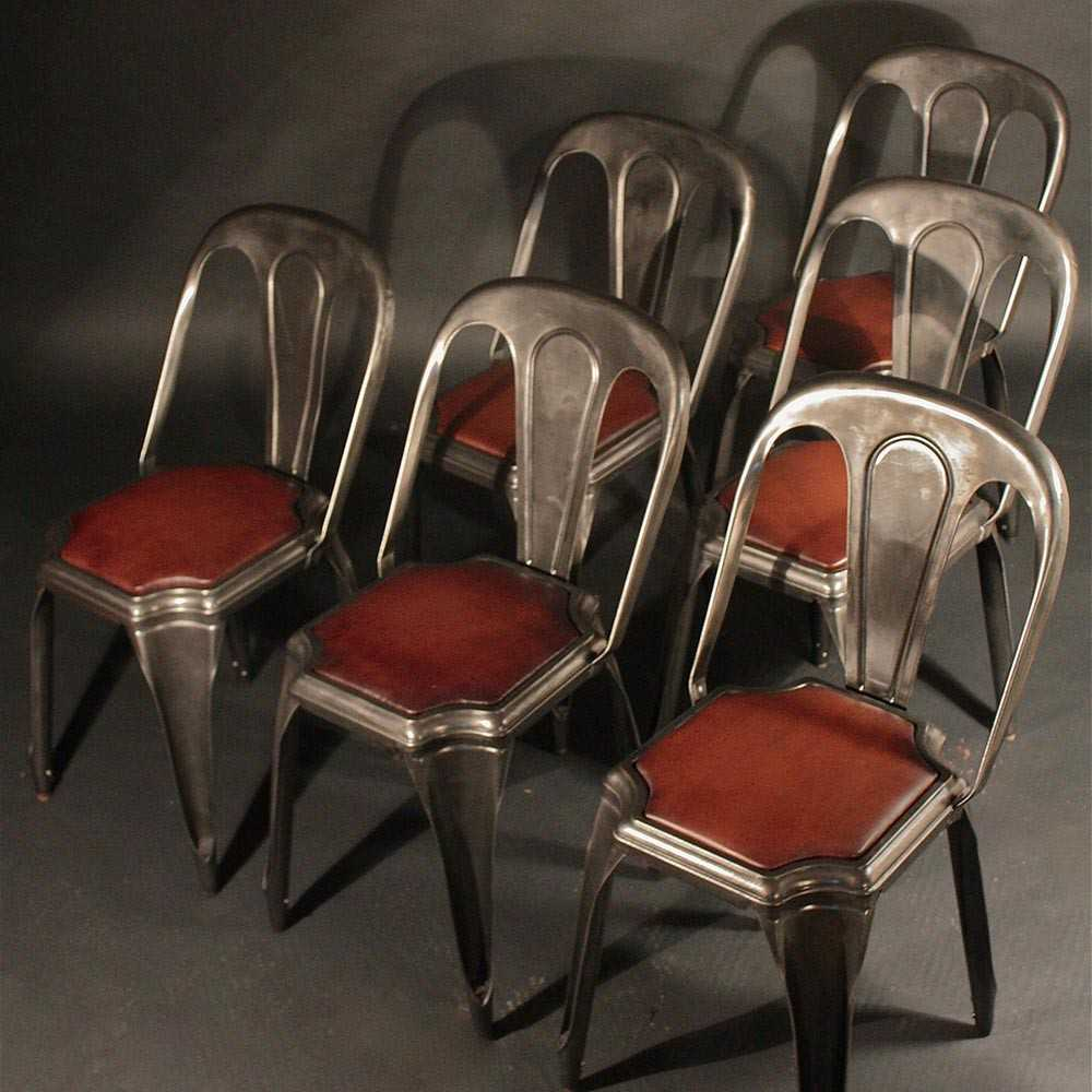 chaise industrielle fibrocit m tal et cuir les nouveaux brocanteurs. Black Bedroom Furniture Sets. Home Design Ideas