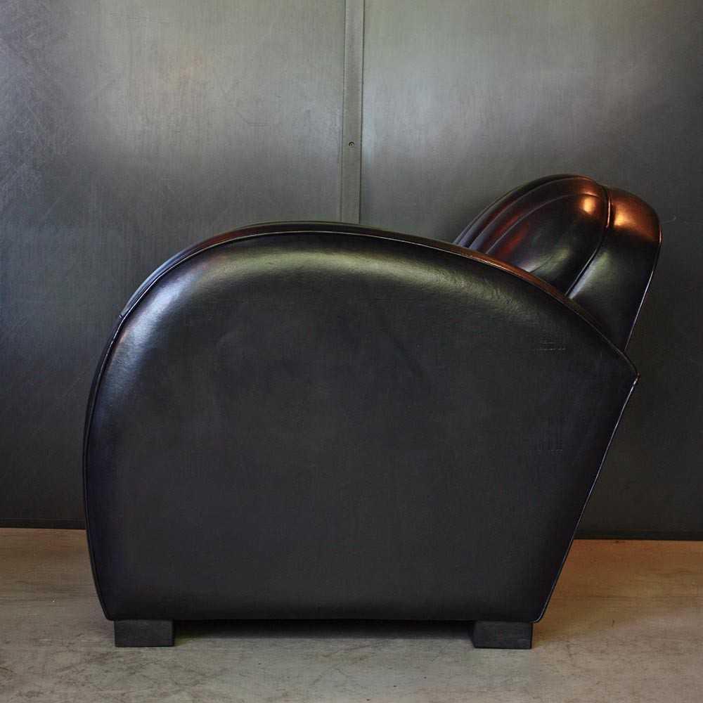fauteuil club roadster cuir noir les nouveaux brocanteurs. Black Bedroom Furniture Sets. Home Design Ideas