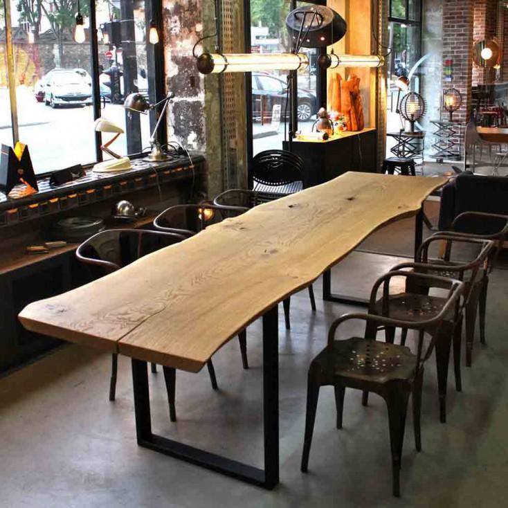 Table à manger naturaliste, plateau en chêne brut