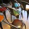 """Chaise industrielle """"Fibrocit"""" métal et cuir"""