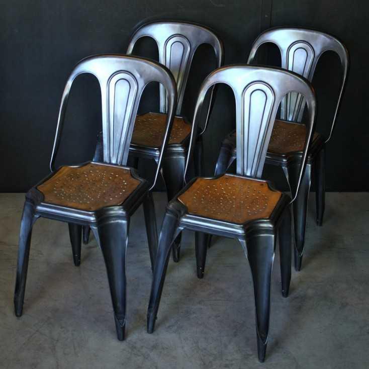 """Chaises industrielles  bois / métal """"Fibrocit"""""""