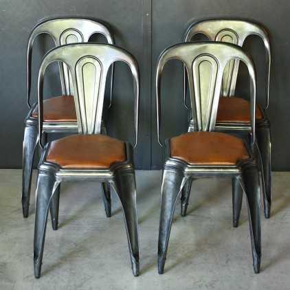 """Chaises industrielles cuir et métal """"Fibrocit"""""""
