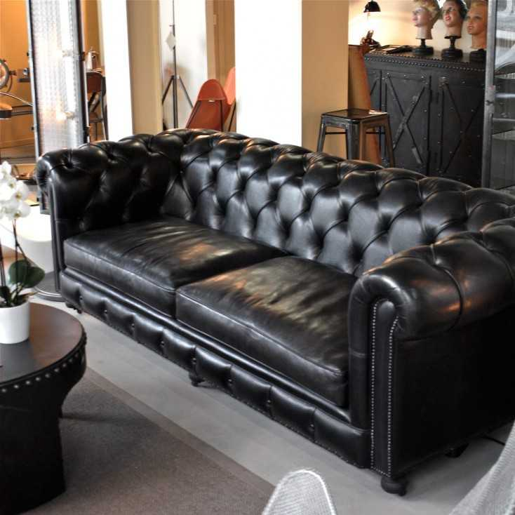 canap chesterfield en cuir noir carbone les nouveaux brocanteurs. Black Bedroom Furniture Sets. Home Design Ideas