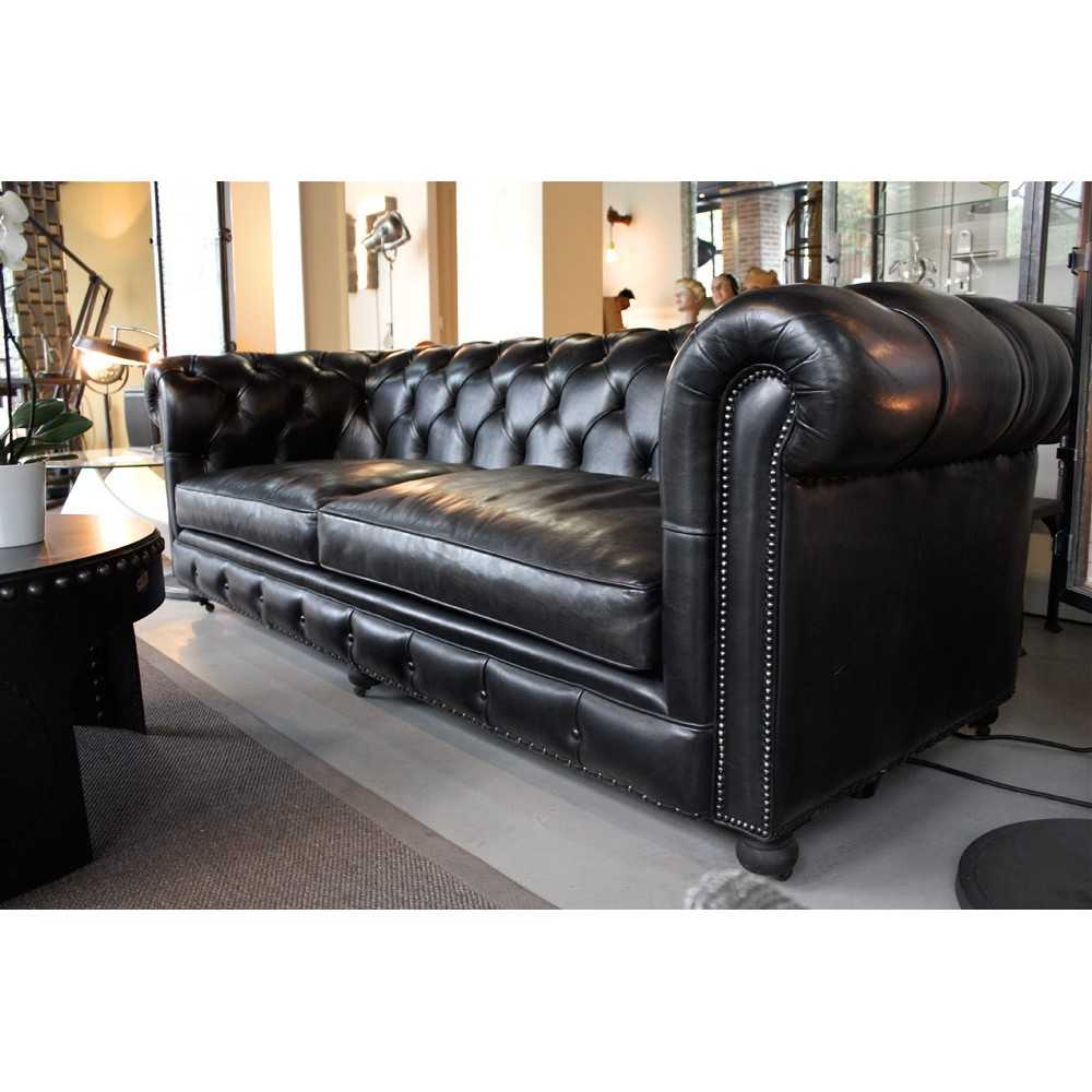 canap chesterfield en cuir noir carbone les nouveaux. Black Bedroom Furniture Sets. Home Design Ideas