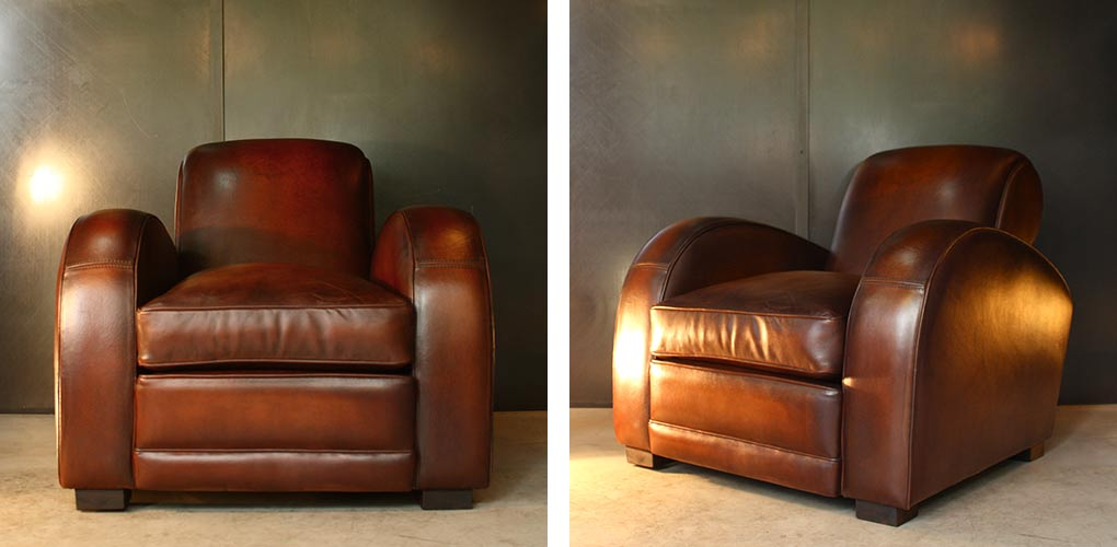 "Fauteuil club ""Bentley"" en basane de mouton"