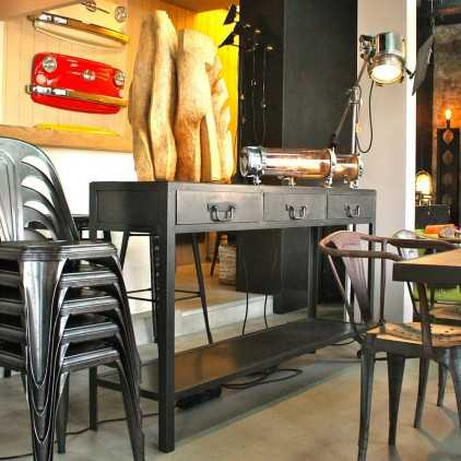 Custom industrial console metal and wood