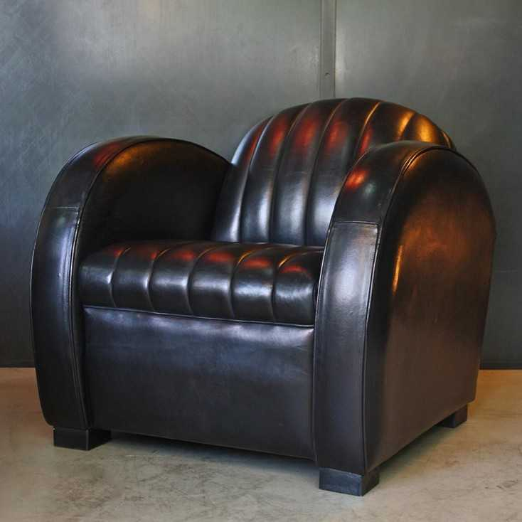 "Fauteuil Club ""Roadster"" cuir noir"