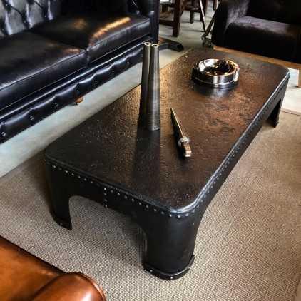Riveted metal industrial coffee table