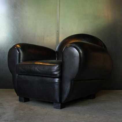 "Club armchair (Art Deco) ""Panthéra""sheep leather"