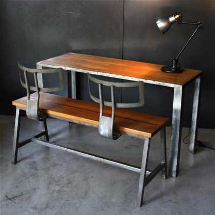 Table and bench set (school desk) metal and oak