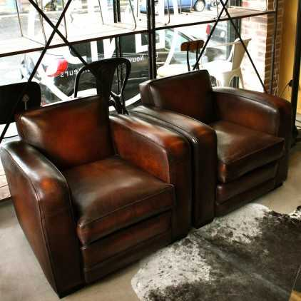 """Club armchair (cubic) """"chicago""""sheep leather"""