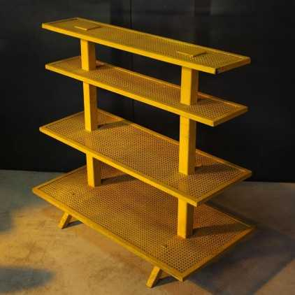 Perforated metal shelf from the 1950's