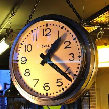Horloge industrielle Brillié Double face
