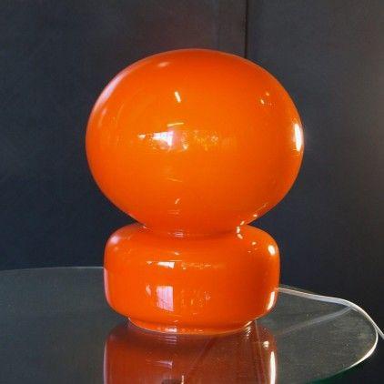 Lampe à poser en opaline orange