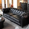 """Chesterfield sofa """"EASY"""" black leather"""
